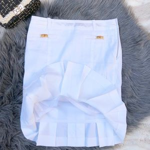 Bebe Pleated White Skirt